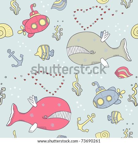 sea life seamless background