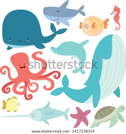 Sea life set. Hand drawn whale, puffer fish, sea horse, dolphin, swordfish, turtle, fish, octopus, shark, starfish. Vector illustration collection. - Vector