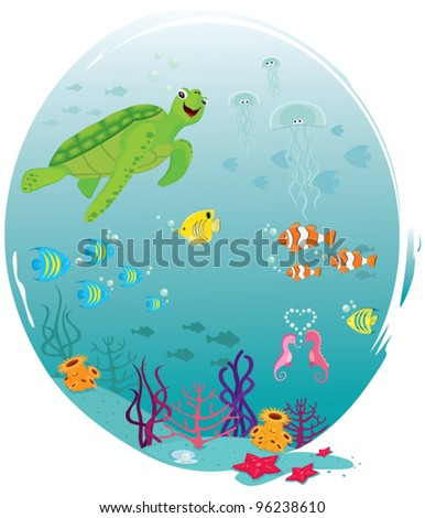 Sea Life. Underwater scene with swimming animals