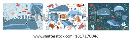 sea life underwater world set