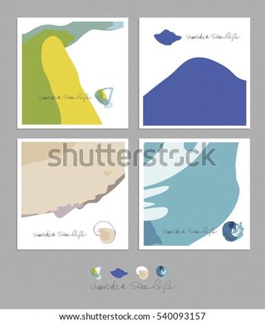 sea life vector abstract card