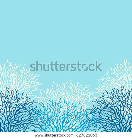 Sea life vector background with corals