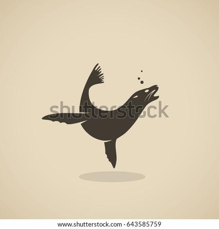 Sea lion symbol - vector illustration