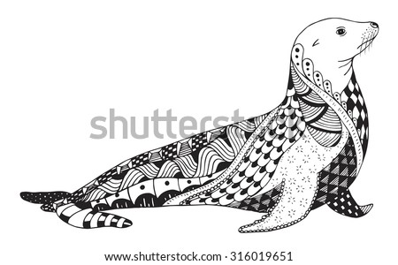 Sea lion zentangle stylized, seal, vector, illustration, freehand pencil, hand drawn, pattern