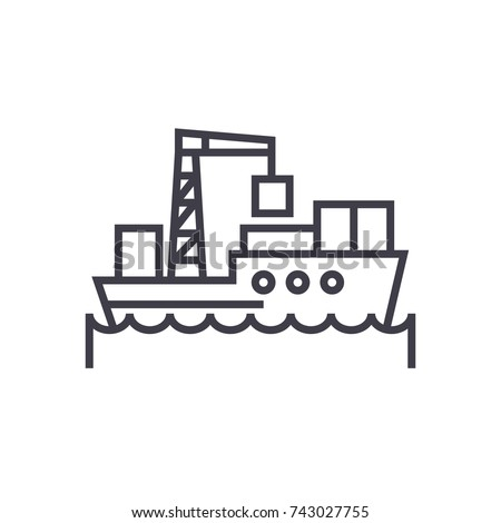 sea logistics, ship concept vector thin line icon, symbol, sign, illustration on isolated background
