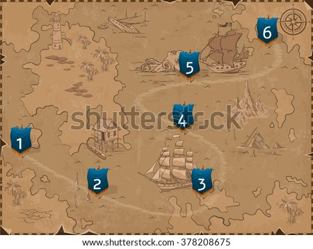 sea map with flags retro