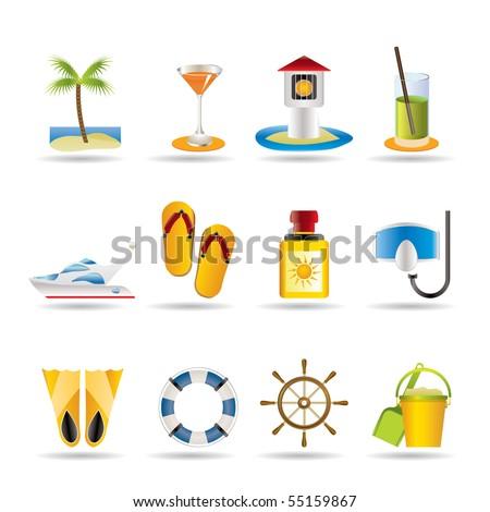 sea  marine and holiday icons