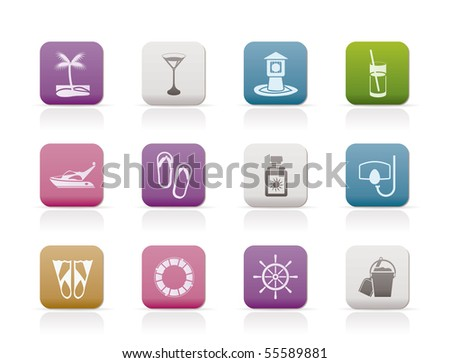 Sea, marine and holiday icons - vector icon set - stock vector