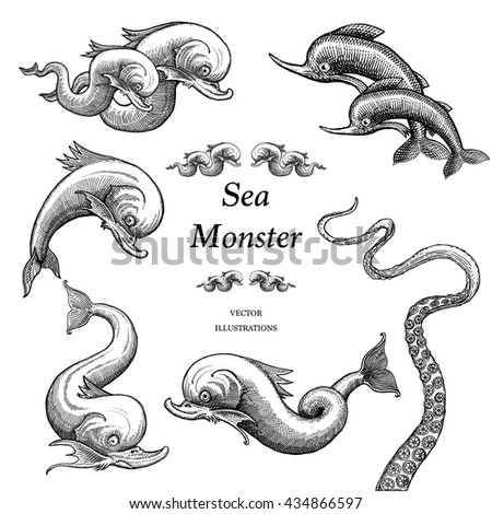 sea monster illustrations in a