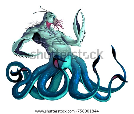 sea monster with tentacles and