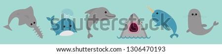 sea ocean animal fauna icon set