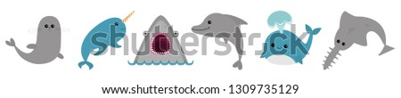 Sea ocean animal fauna icon set line. Blue whale, sawshark, dolphin, narwhal, seal. Saw shark fish. Water inhabitant. Cute cartoon baby character collection. White background Flat design. Vector