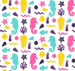 Sea ocean symbols silhouettes sea horse fish starfish cute seamless vector pattern