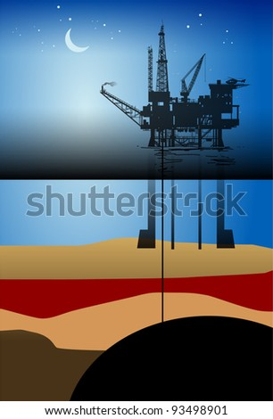 Sea Oil Rig Drilling Platform, vector illustration
