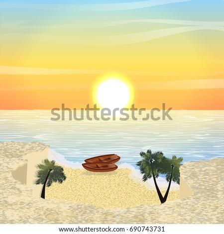 sea or ocean bay  flat rock