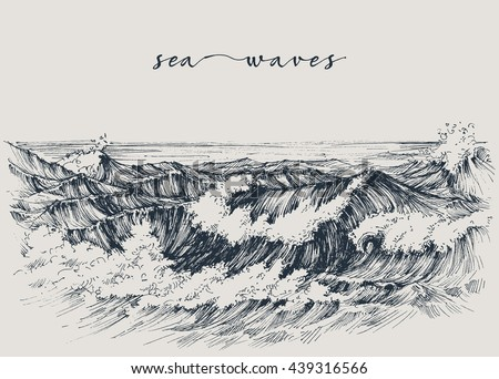 sea or ocean waves drawing sea