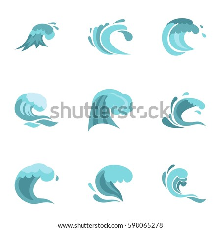 sea or ocean waves icons set