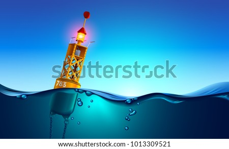 Sea orange Buoy floating in ocean at dawn. Sea buoy has navigation meteorology equipment, beacon swinging on waves. Split view over and under water surface. Buoy chained to sea bottom underwater