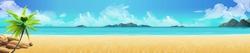 Sea panorama. Tropical beach. Vector background