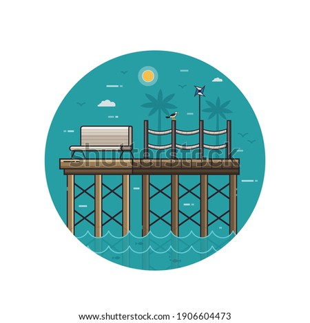 sea pier seaside icon with