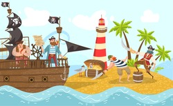 Sea pirates on piratical ship, buccaneers cartoon characters flat vector illustration with treasure island adventure. Sail boat in sea, pirates sailors, captain, boatswain and skipper fight. Black
