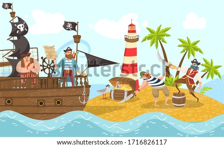sea pirates on piratical ship