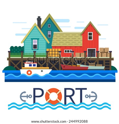 sea port boats with a cargo