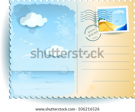 Sea postcard, vector illustration