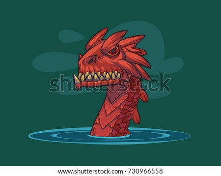 sea red dragon illustration