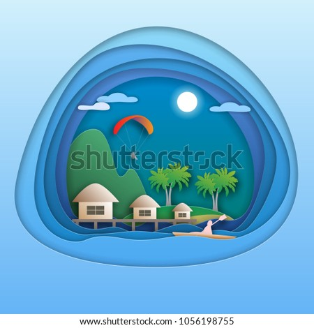 Sea resort with bungalows, island with palm trees, mountain, paraglider, kayak rower. Tourist card illustration in paper cut style.