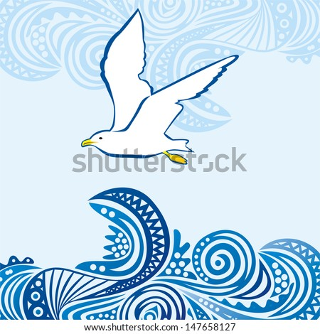 sea seagull vector illustration