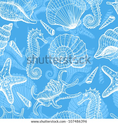 Sea seamless pattern. Original hand drawn illustration in vintage style