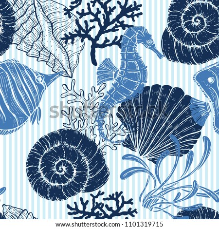 Sea seamless pattern. seashell, seahorse, coral. Blue stripped background.
