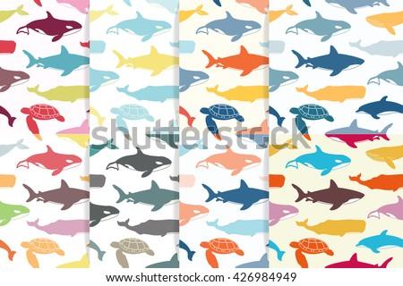 sea seamless pattern set great
