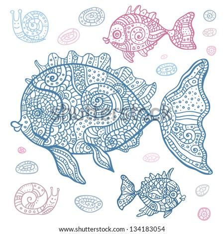 Sea Snail Drawing Sea Set of Fish And Snails