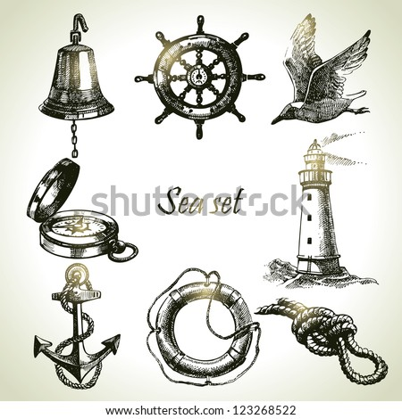 sea set of nautical design