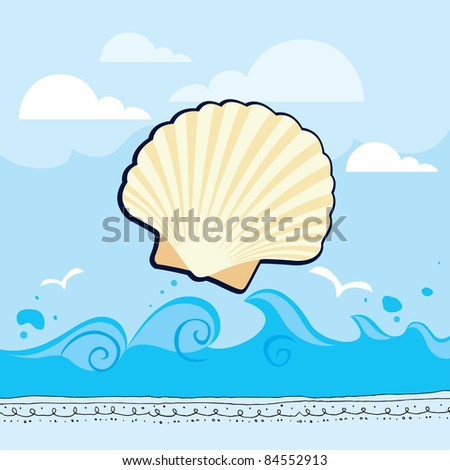 Sea shell on pattern background - set of rustic doodles