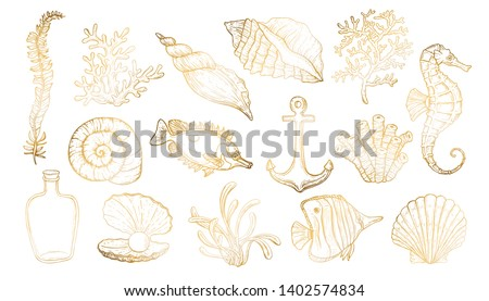 Sea shell, seaweed, anchor, seahorse, and fish. Hand drawn underwater creatures in gold and white colors.