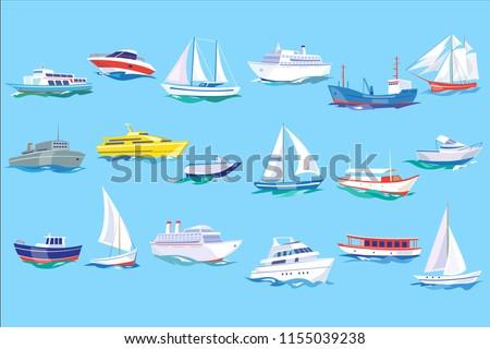 sea ship  boat and yacht set