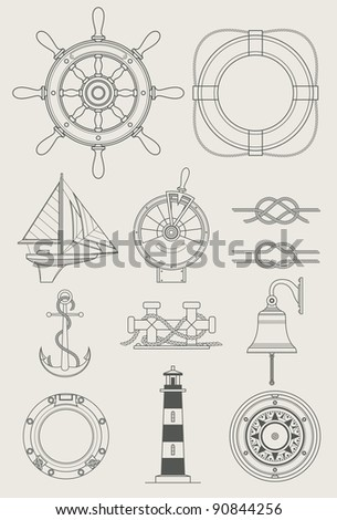 sea ship set icon vector illustration