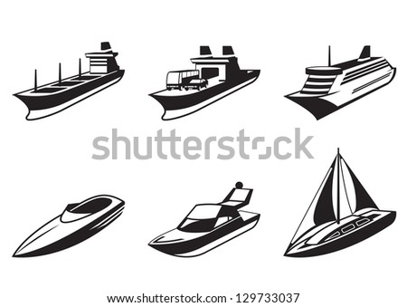 Sea ships and boats in perspective - vector illustration