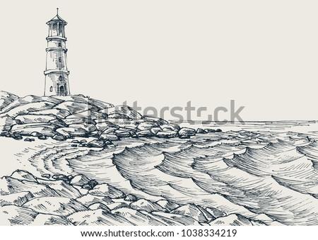sea shore and sea waves drawing