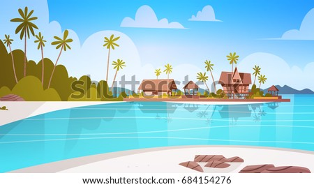 sea shore beach with villa