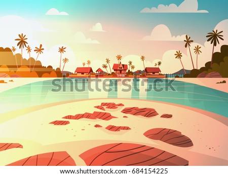 sea shore beach with villa