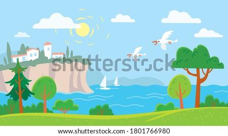 sea shore landscape with harbor