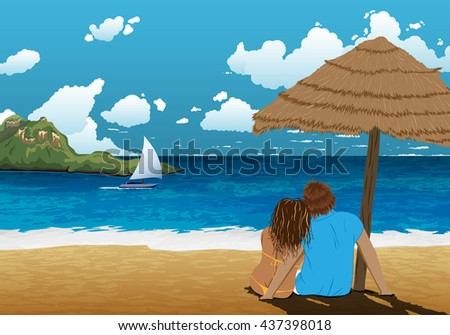 sea shore picture with couple