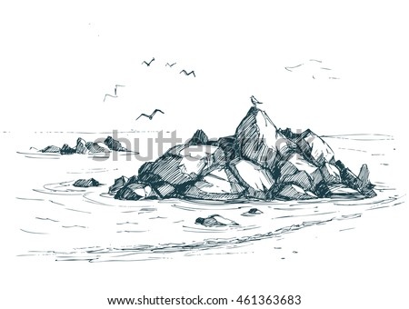 sea sketch with rocks and gulls