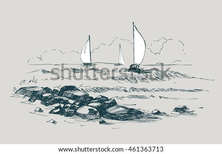 sea sketch with rocks and