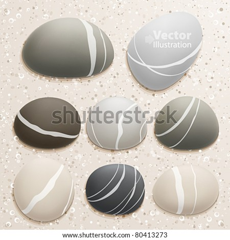 sea stones collection on sand