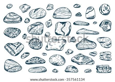 Sea stones set. Hand drawn doodle Sea Pebbles - vector illustration